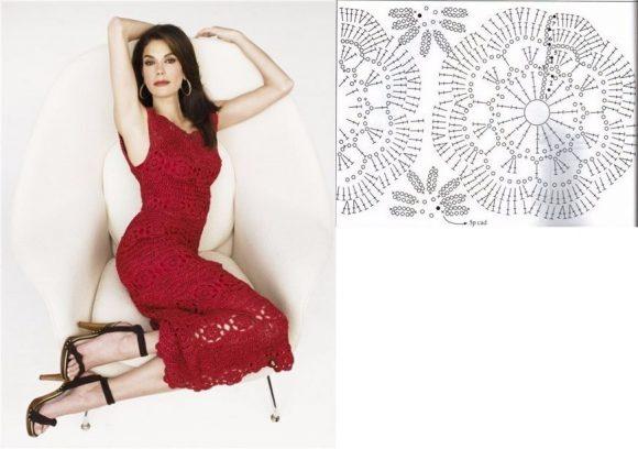 Вишнёвое платье из мотивов