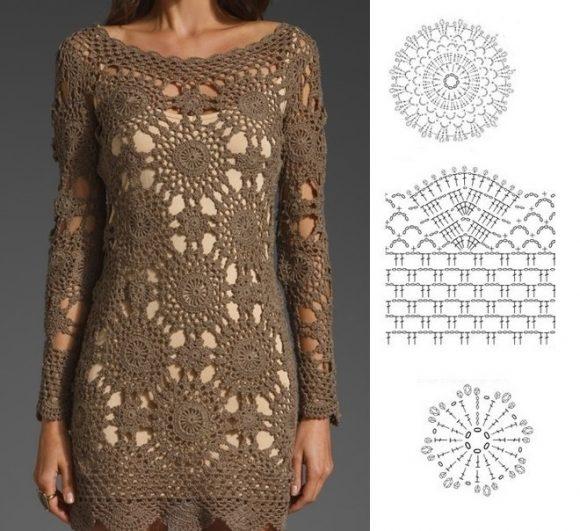 Платье из мотивов с кружевной обвязкой