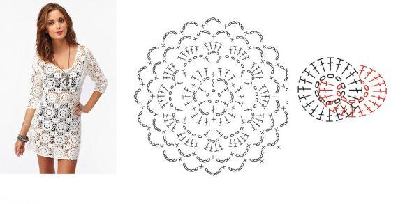 Белое короткое платье из мотивов
