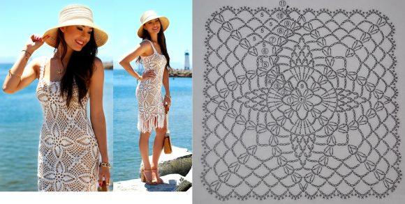 Пляжное платье из квадратных мотивов «ананас»