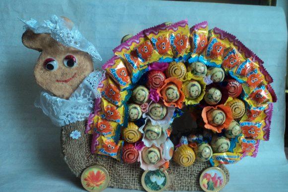Улитка из конфет