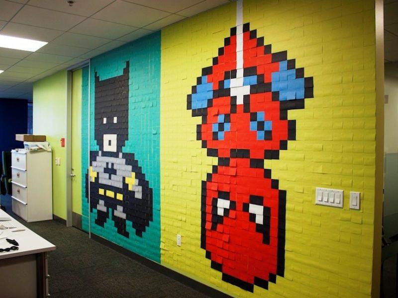 Креатив в офисе level 100: 20 картин из стикеров