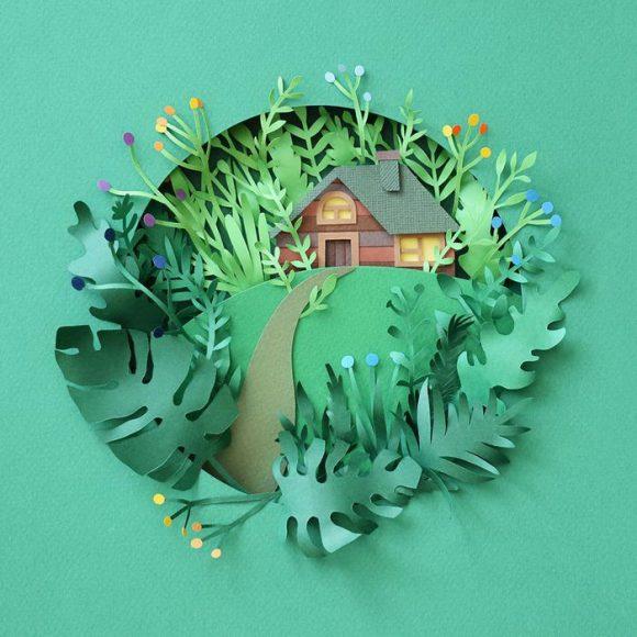 Объёмная картина с домом