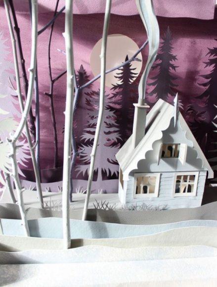 3D картина с домом в лесу
