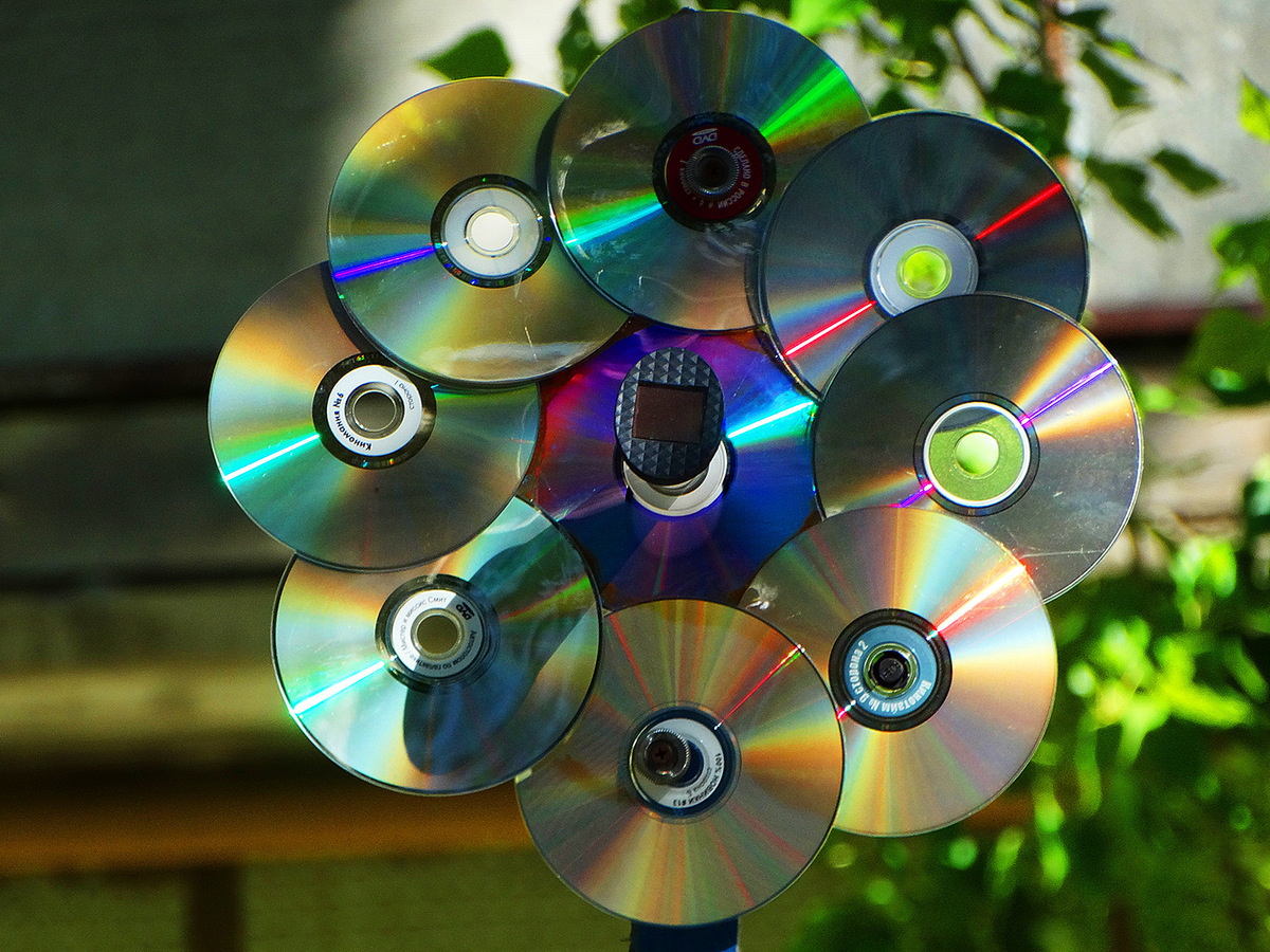 Открытки и поделки из дисков, открытка для