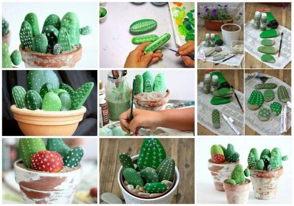Как сделать декоративные кактусы из гальки