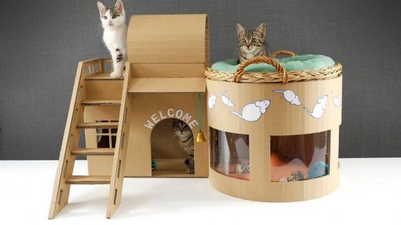 Домик для кошек из картона