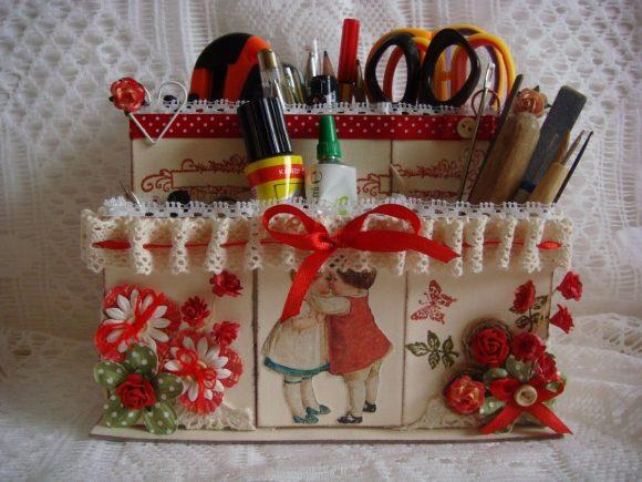 Органайзер из картона с декором