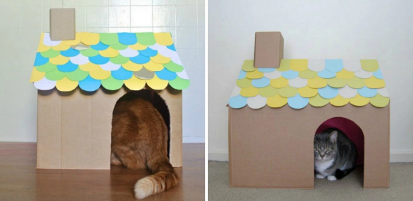 Кошачий домик из картонных коробок