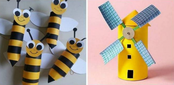 Пчёлки и мельница из втулок