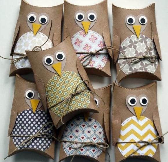 Подарочные упаковки из втулок в виде сов