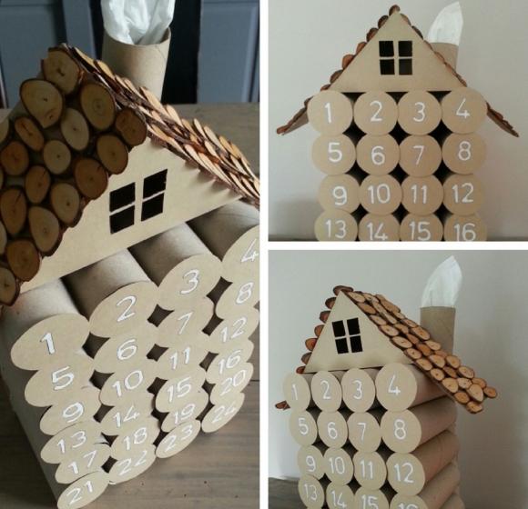 Адвент-календарь из втулок и древесных спилов
