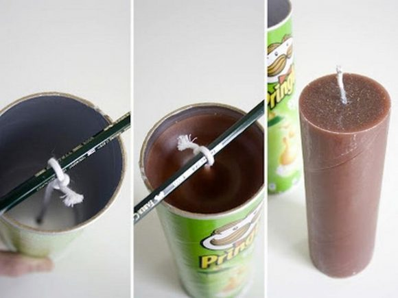 Форма для свечей из банки Pringles