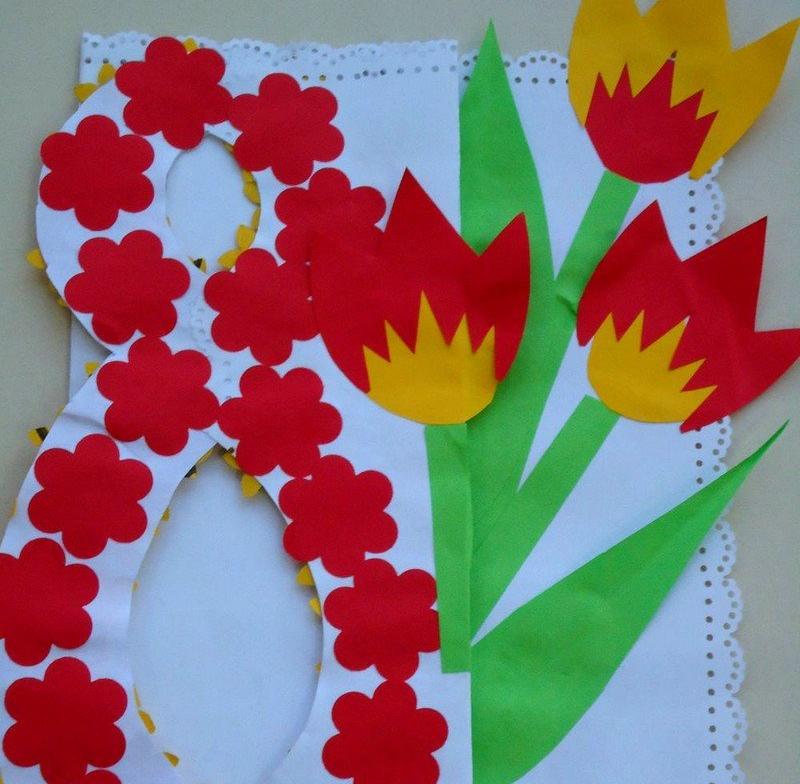 Открытка для мамы на 8 марта для детей