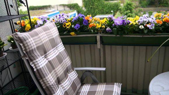Кресло на балконе с цветами