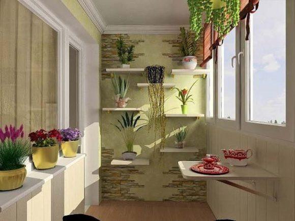 Визуализация балкона с растениями