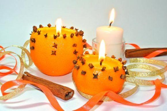 подсвечник из апельсина с гвоздикой
