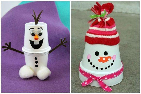 Снеговики из бумажных стаканчиков