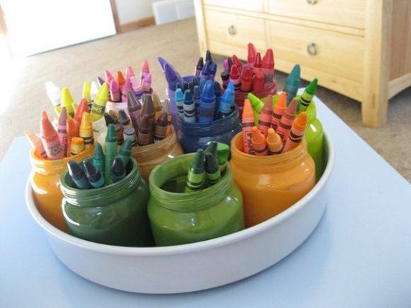 карандашницы из баночек от детского питания