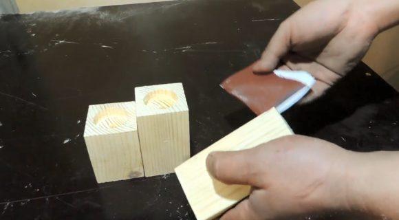 Шлифовка заготовки наждачной бумагой