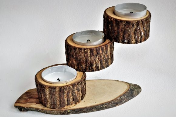 Подсвечник из спилов дерева