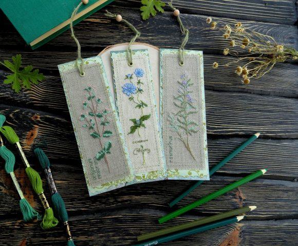 Книжные закладки с вышивкой