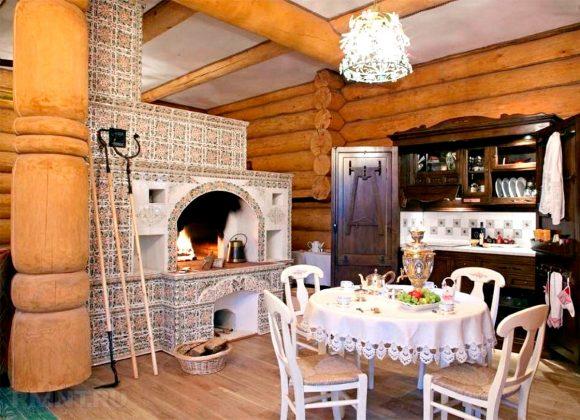 Интерьер дачного домика с печкой