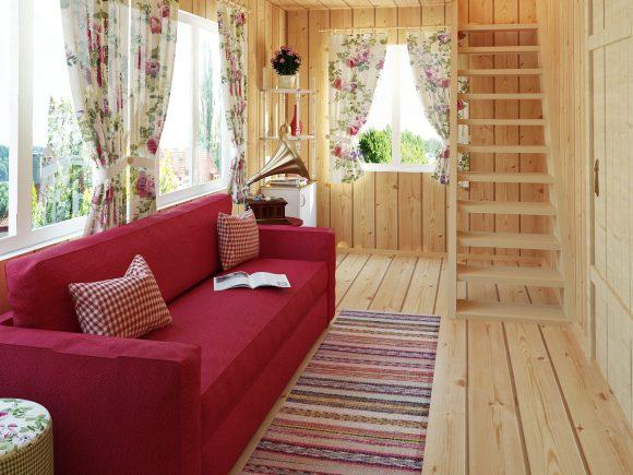 Интерьер дачного домика с лестницей