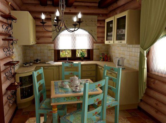 Интерьер кухни в дачном доме с голубым столом и стульями