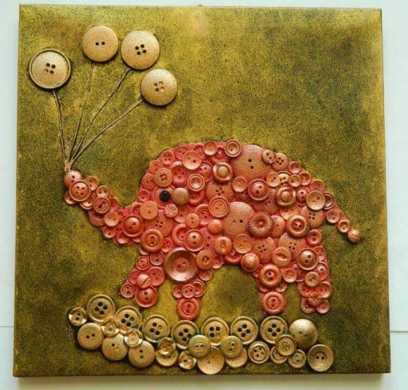 Картина слон из пуговиц