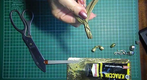 Плетение жгута из кожи