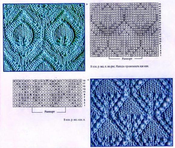 Узор листики для вязания спицами