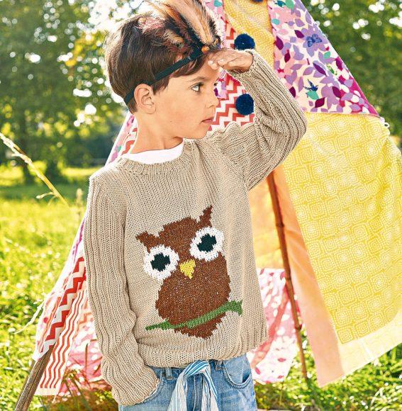 Свитер с совой для мальчика