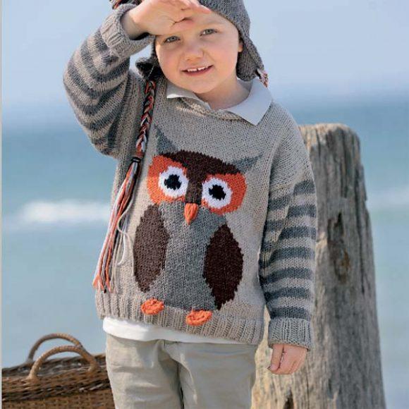 Пуловер для девочки с интарсией «Сова»
