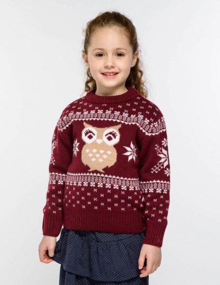 Жаккардовый свитер с совой