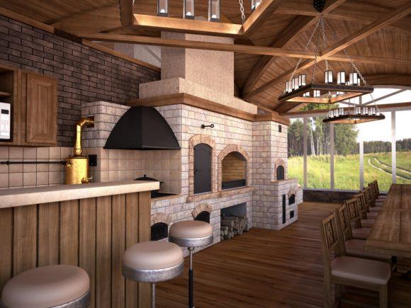 Летняя кухня-столовая в большой беседке