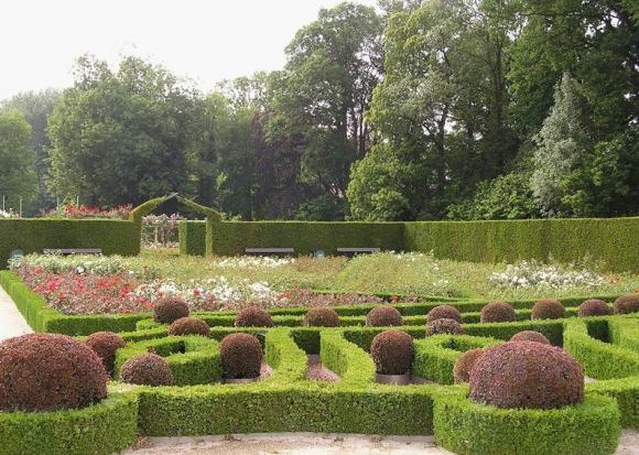 Дизайн садовой клумбы с живой изгородью и бордюрами