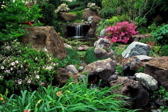 Альпинарий с водопадом на склоне садового участка