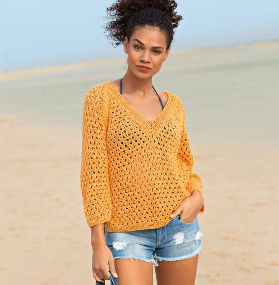 Ажурный пляжный свитер