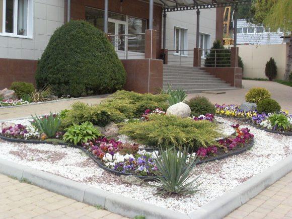 Палисадник перед домов с однолетним цветами и можжевельником