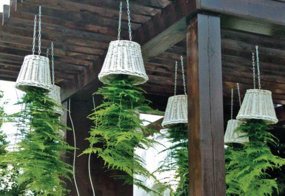 Оригинальный подвесной садик на веранде дачного дома