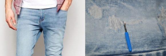 потёртости на джинсах вязальным крючком