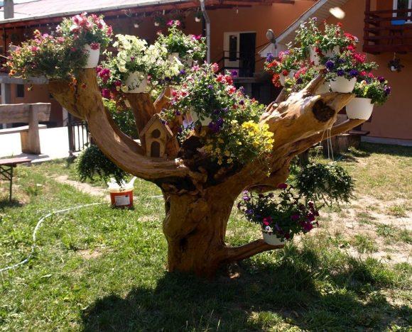 Рутарий, украшенный цветами в кашпо