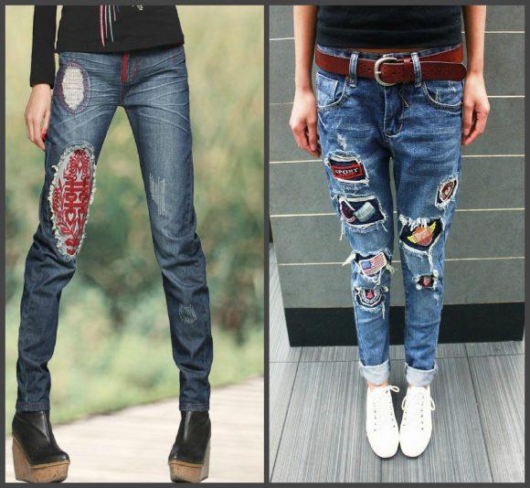 Яркие заплатки на джинсах