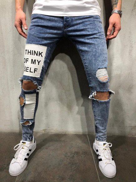 Мужские джинсы с нашивками