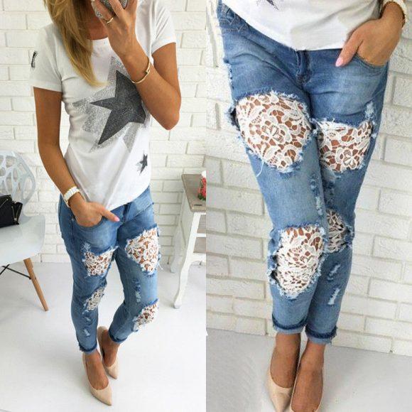 Дырявые джинсы с кружевом