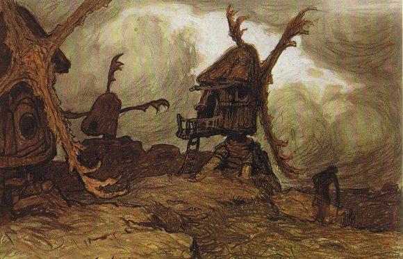 Древняя мельница на рисунке
