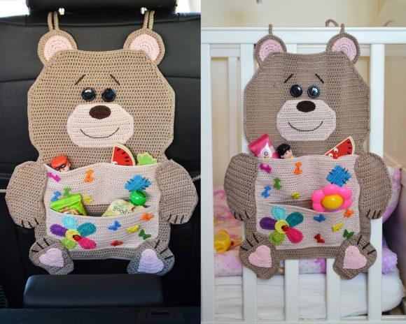 Вязаный органайзер-мишка для детской кроватки