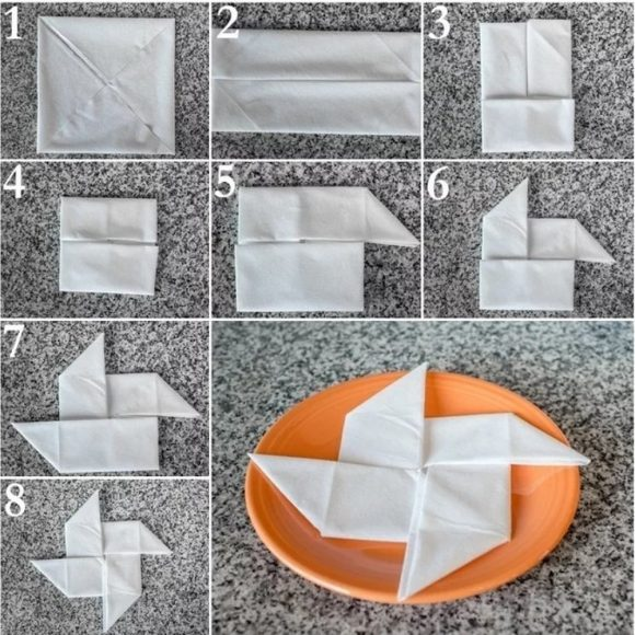 Пошаговое складывание салфетки