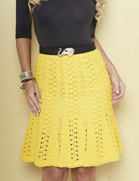 Жёлтая вязаная юбка